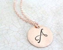 Rose Gold Initial Necklace | Rose Gold Script Monogram | Large Letter Monogram | Rose Gold Jewelry | Layering Necklace | Initial Jewelry