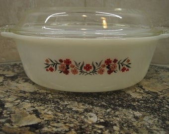 Fireking Covered Casserole, Pink, Red and Black Floral, Primrose,