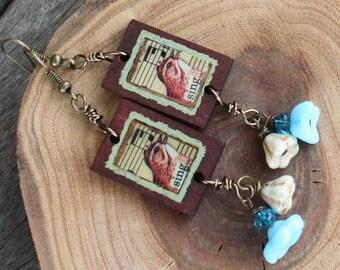 Birds and Blooms Earrings - Decoupage Bird Earrings - Antiqued Brass, czech earrings, collage earrings, wood earrings, sparrow earrings
