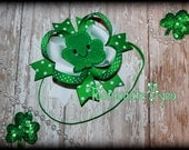 St. Patrick's Day Headband or Hair bow - Shamrock Bow Perfect For Baby's First St. Patrick's Day