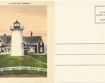 A Cape Cod Windmill Unique Correspondence on the back Vintage Linen Postcard Ephemera