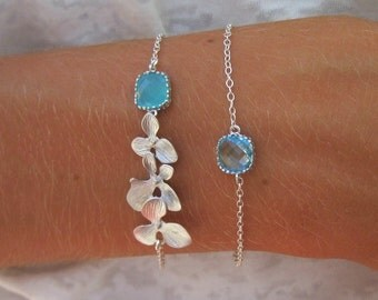 Orchid Bracelet with Mint Accents