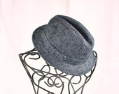 Mens Hat Fedora Gray & Black Unisex Hat Size Large Retro Menswear Mens Fashion Dapper Gentleman