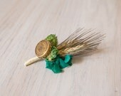 One of Kind READY TO SHIP Hops Boutonniere Henry Weinhard's Cap