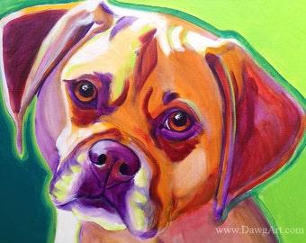 Puggle, Pet Portrait, DawgArt, Dog Art, Dog Painting, Colorful Pet Portrait, Puggle Art, Pet Portrait Painting, Art Prints