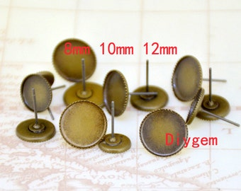 20pcs Ear tooth Stud Tray Antique Bronze Ear Tray Fit 8mm/10mm/12mm Circle Cabochon sawtooth Pad Ear Base Set Fitting Ear Stud