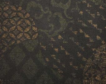 Japanese vase shape, dark brown, fat quarter, pure cotton fabric