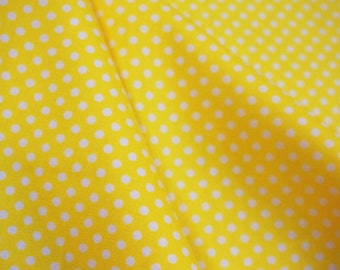 Small off-white dots, on yellow,  fat quarter, pure cotton fabric