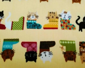 Cats in boots, yellow, fat quarter, pure cotton fabric
