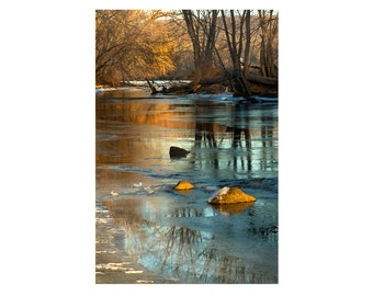 Winter Landscape Photography Delaware River and Reflection with Ice Trees Morning Light Nature Photograph Woodland Zen Wall Art Print