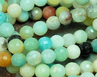 6mm Amazonite Natural Faceted Round Beads -15 inch strand