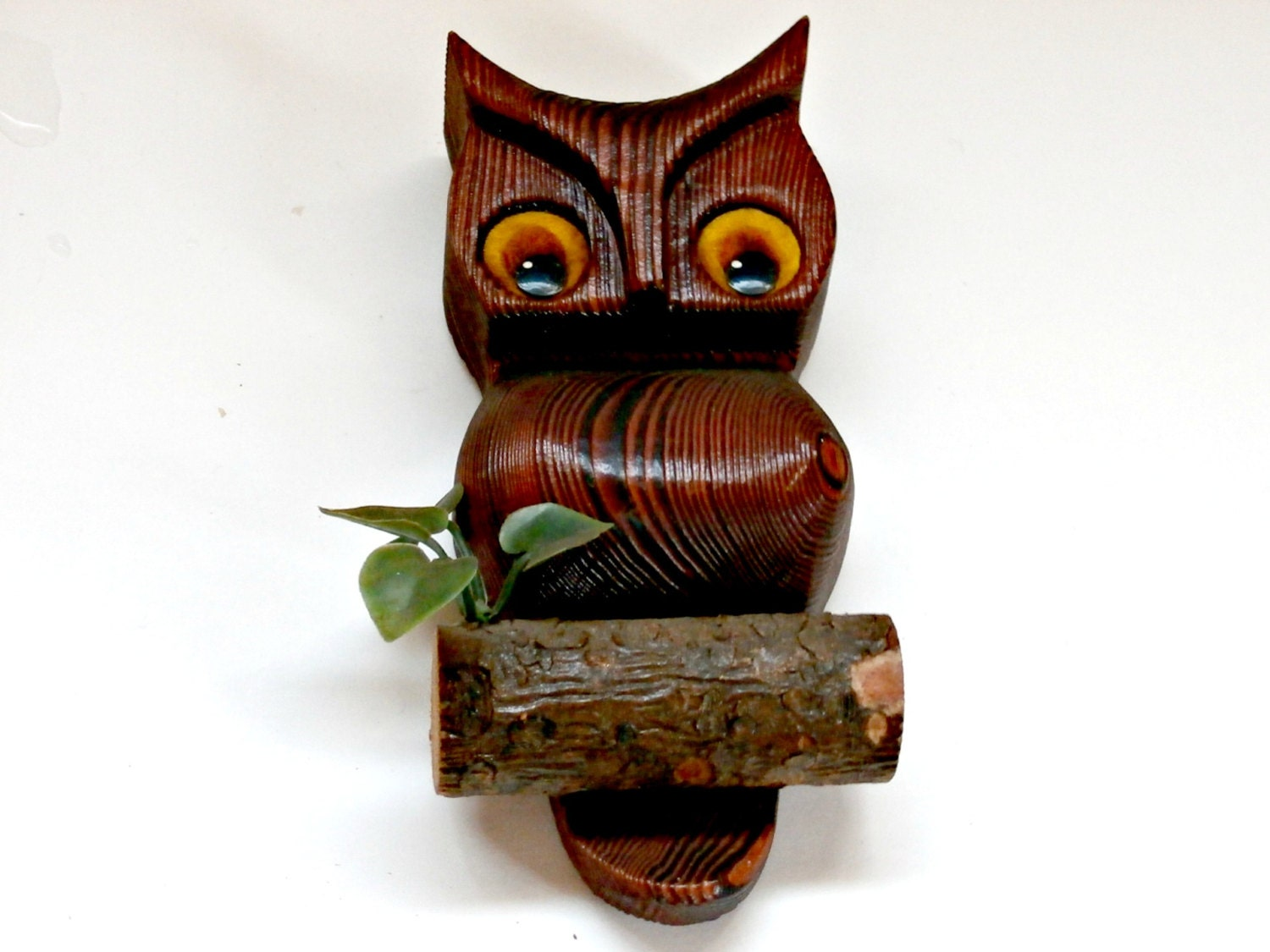 Wooden Owl Wall Decor : Vintage wooden owl on branch wall hanging by