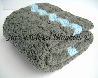 Crochet Baby Blanket, Baby Blanket, Crochet Grey Baby Blanket, Crochet Gray Baby Blanket, Slate Grey and Sky Blue, travel stroller size