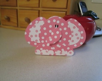 Elephant Favor Boxes in Pink and White Polka Dots Set of 10