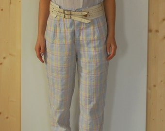 Vintage 80's High Waisted Checkered Pants pleated summer pants