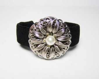 Midnight Cuff Bracelet of Italian Faux Suede with Vintage Embellishment Handmade OOAK - Womans Gift