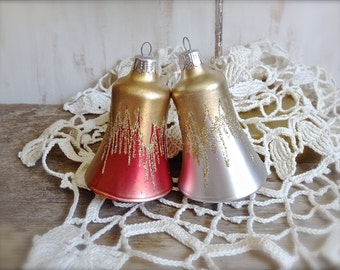 Vintage Christmas Bell Ornaments - Set of 2 Vintage Bell Ornaments - Vintage Christmas - Collectibles - Decor - Gifts