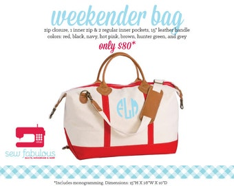 Monogrammed Canvas Weekender Bag Duffle - More Colors Available
