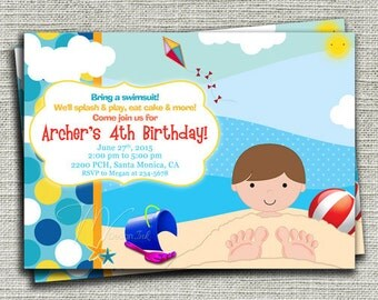 Beach Birthday Invitation, Beach Party Birthday Invite, Boy Beach Birthday Invite, Boy Under the Sand-Digital File You Print