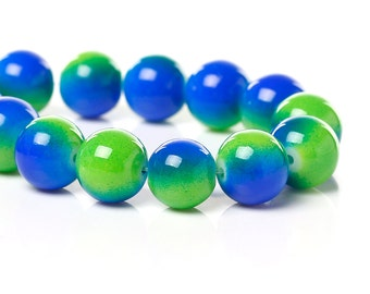 40 Green and Dark Blue Round Glass Beads 10mm