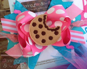 Cookie Bow - Something Sweet - Over The Top bow in hot pink and turquoise hairbow with oversized cookie center by Darling Little Bow Shop