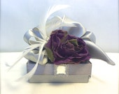 Jewelry Gift Box Gray and Purple Wedding Favor Box, Jewlery Box, Gift Box, Favors, Mothers Day,  Bridesmaids, Handmade, Decorative Boxes,