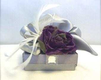 Gift BoxJewelry Gift Box Gray Purple Wedding Favor Box Jewlery Box, Gift Box, Favors, Mothers Day,  Bridesmaids, Handmade, Decorative Boxes,
