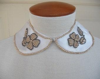 Vintage Beaded Collar . Pearl Peter Pan Collar . Made in Japan