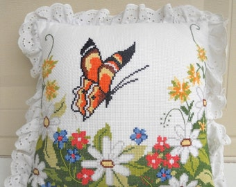 vintage Cross Stitch Monarch Butterfly Pillow . Lace Ruffle Shabby Chic Home Decor