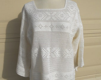 Vintage White Crochet Lace Top Tunic Sheer Coverup Hippie Open Weave Knit Shirt