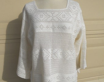 White Crochet Lace Top Tunic Sheer Coverup Hippie Open Weave Knit Shirt