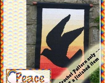 PDF Crochet  Pattern Peace Tapestry Wall Hanging