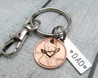 Pennies From Heaven - Personalized Keychain - Hand Stamped keychain - Personalized Penny - Remembrance Keychain - Memorial Keychain (902)