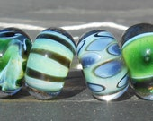 Green Assortment Handmade Boro Lampwork Glass Bead Set Beads by Christina Burkhart