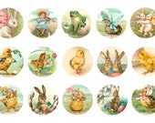 Digital Bottle Cap Images, Vintage Easter chicks rabbits Children kids--1 inch One Inch Circles--Digital Collage Sheet (4 by 6 inches)  1967