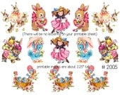 Digital clipart, instant download, Vintage Easter Images, bunnies, birds, Printables for Cards, Tags--8.5 by 11--Digital Collage Sheet 2005