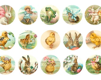 Digital Clipart, instant download, Vintage Easter Images, chicks bunnies eggs--1 inch Circles--Digital Collage Sheet (4 by 6 inches)  1967