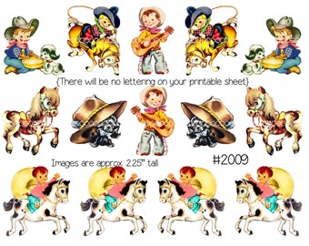 Digital Clipart, instant download, Vintage Greeting Card Images--Cowboy birthday, boy, horse, pony-8.5 by 11--Digital Collage Sheet 2009