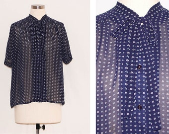 Vintage Sheer Printed Navy & White Blouse