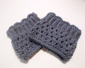Crocheted Boot Cuffs in Smokey Blue, Scalloped Lace Cuffs
