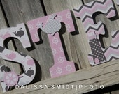 Nautical Nursery Letters, Custom Wooden Letters, Custom Letters, Baby Girl (pink, grey, gray, whale, anchor, lighthouse, boat) 9 Inch