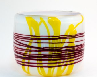 Red and Yellow Fine String Glass Bowl