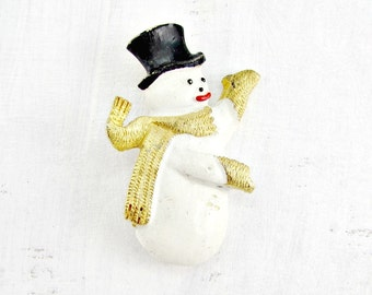 Vintage White Snowman Brooch Pin, Enamel Christmas Brooch, Designer CS Brooch, 1980s Winter Holiday Jewelry, Christmas Gift for Mom Grandma