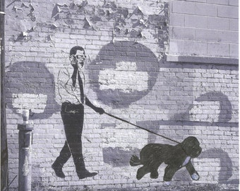 President OBAMA walking Bo DC Graffiti -