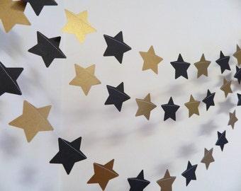 Star Wars Inspired Birthday Garland - Gold and Black Star Garland - gold and black Birthday Decorations - anniversary decor -Custom colors