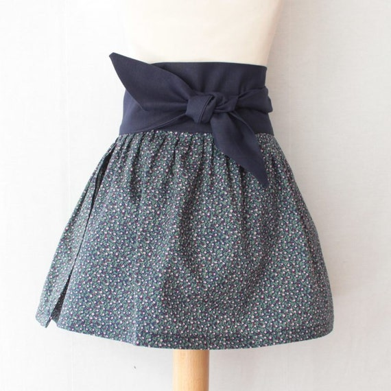 Tie skirt for girls with sash belt, wrap skirt in liberty prints, mod fall skirt, spring fashion skirt with retro style, sixties inspiration