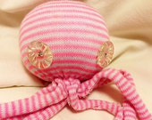 Pink and White Striped Octopus with Vintage Buttons