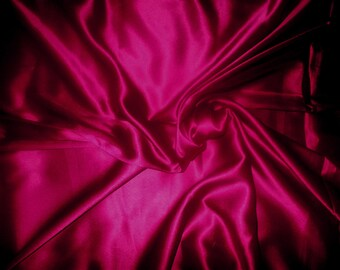 One yard of rich burgundy Poly Silk Satin fabric