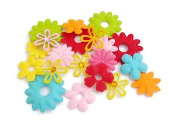 Felt flower Shapes, die cut flower, pre cut felt shapes, Fabric flower, felt patch, fabric accessories crafts