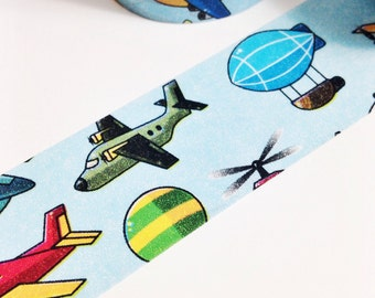 SALE Baby Blue Sky Blue with Airplanes Helicopter Hot Air Balloon Blimp Washi Tape 11 yards 10 meters 30mm